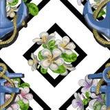 Flores incons?tiles hermosas con las anclas, hibisco, hojas de palma Textura geom?trica abstracta, rayas Ideal para libre illustration