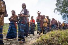 FLORES/INDONESIA-AUGUST 14 2014年:片刻,当某些人在kelimutu时进行传统仪式 库存照片