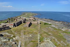Flores island, from the lighthouse. East part of the ruins in the Flores island, from the lighthouse. Montevideo, Uruguay royalty free stock images