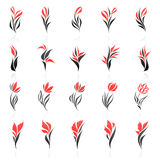 Flores. Jogo do molde do logotipo do vetor. Imagens de Stock Royalty Free