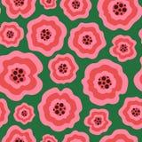 Flores líquidas cor-de-rosa originais no teste padrão sem emenda verde fotografia de stock royalty free