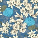 Flores Lírios brancos Fundo sem emenda do vetor Teste padrão floral do vintage botany ilustração do vetor