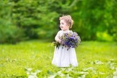 Flores levando do bebê bonito em um jardim Imagem de Stock Royalty Free
