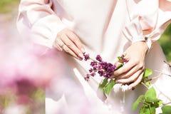 Flores lilás em uma mão em uma árvore fotografia de stock royalty free