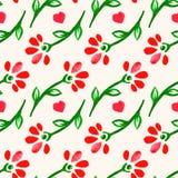 Flores lindas del rojo de la acuarela Imagen de archivo libre de regalías