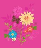 Flores lindas y vector de la mariposa Fotos de archivo