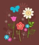 Flores lindas y vector de los Doodles de la mariposa libre illustration