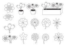 Flores lineares dos desenhos animados Imagem de Stock
