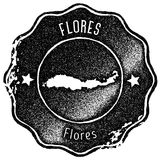 Flores map vintage stamp. Royalty Free Stock Photo