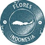 Flores mapy rocznika znaczek ilustracja wektor