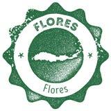 Flores mapy rocznika znaczek royalty ilustracja