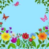 Flores, mariposas y cielo Imagen de archivo libre de regalías