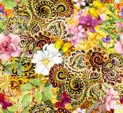 Flores, mariposas y ornamento indio de oro Modelo inconsútil de la acuarela del vintage Imagenes de archivo