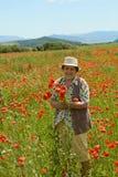 Flores mayores de la cosecha de la mujer imágenes de archivo libres de regalías