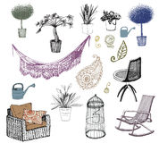 Flores. Mobília. Elementos interiores. Foto de Stock