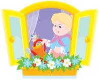 Flores molhando da avó Fotografia de Stock Royalty Free