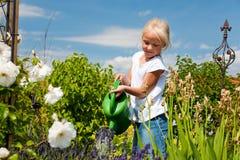 Flores molhando da menina Fotografia de Stock