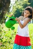 Flores molhando da moça bonita no jardim Fotos de Stock Royalty Free