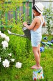 Flores molhando de um menino de uma lata molhando em seu jardim no fotos de stock