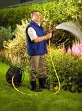 Flores molhando do homem sênior no jardim imagem de stock royalty free
