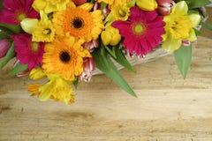 Flores multicoloras de la primavera del ramo en fondo de madera Imagenes de archivo