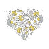 Flores na forma do coração Imagem de Stock
