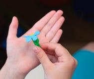 Flores na mão da criança Imagem de Stock