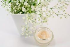 Flores na nata do vasee e da face fotos de stock
