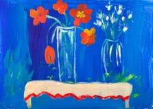 Flores na pintura acrílica dos vasos por Kay Vendaval fotos de stock royalty free
