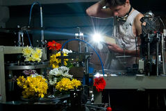 Flores na produção de máquinas no factory7 Fotografia de Stock
