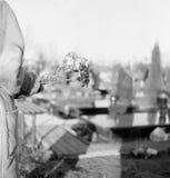 Flores na sepultura. Fotos de Stock Royalty Free
