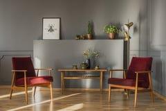 Flores na tabela de madeira entre a obscuridade - poltronas vermelhas no livin cinzento imagem de stock