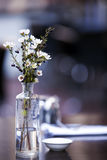 Flores na tabela do café Fotografia de Stock