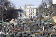 Flores nas barricadas de Kiev Foto de Stock