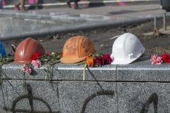 Flores nas barricadas de Kiev Imagens de Stock