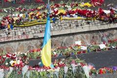 Flores nas barricadas de Kiev Imagem de Stock