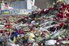Flores nas barricadas de Kiev Fotos de Stock