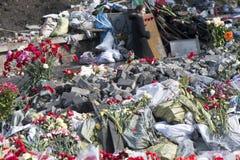 Flores nas barricadas de Kiev Imagens de Stock Royalty Free