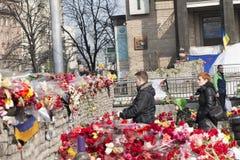 Flores nas barricadas de Kiev Foto de Stock Royalty Free