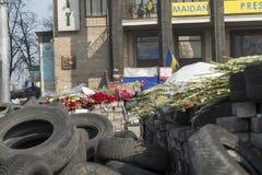 Flores nas barricadas de Kiev Fotografia de Stock