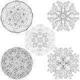 Flores nativas tribales de las mandalas del estilo cinco fijadas stock de ilustración