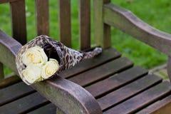 Flores no banco Fotos de Stock Royalty Free