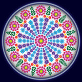 Flores no círculo azul Fotografia de Stock Royalty Free
