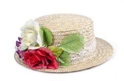 Flores no chapéu Imagens de Stock Royalty Free
