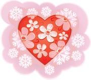 Flores no coração Imagens de Stock Royalty Free