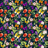 Flores no prado, fundo floral repetido watercolor ilustração do vetor
