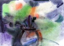 Flores no vaso. Pintura das aguarelas Fotografia de Stock Royalty Free