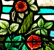 Flores no vitral Imagem de Stock Royalty Free