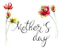 Flores originais do verão com dia de mães do título Foto de Stock Royalty Free