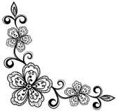 Flores ornamentales de la esquina del cordón. blanco y negro. stock de ilustración